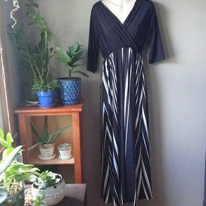 Black and White vertical stripes dress